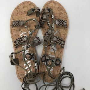 TAN STUDDED LACE UP SANDALS